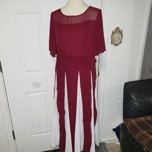 Chiffon Maxi Dress Red-White XL